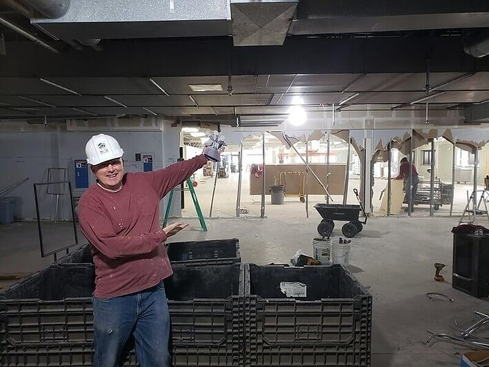 Pete O'Keefe in the under-construction New Brighton ReStore.