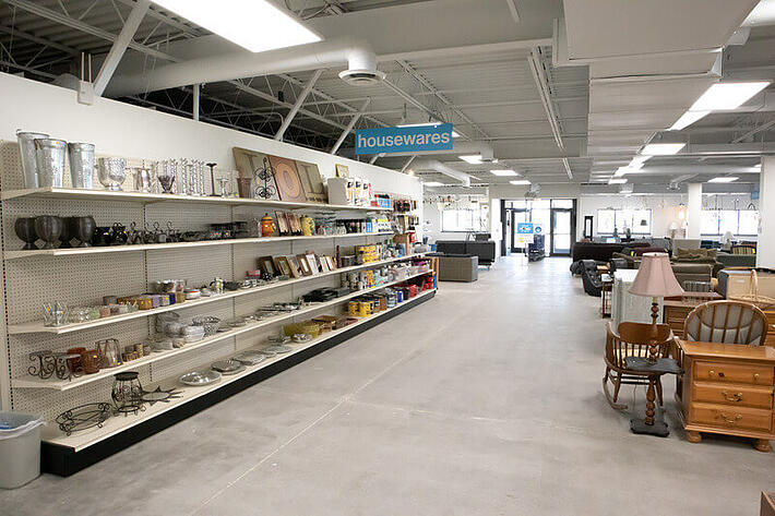 Wider aisles and the vestibule at the front of the store.