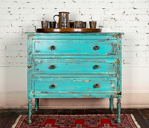 A dresser in the rustic style.