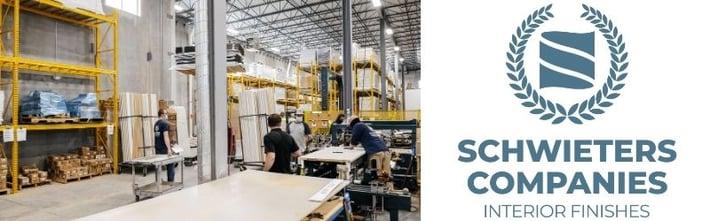 Schwieters logo and manufacturing floor.
