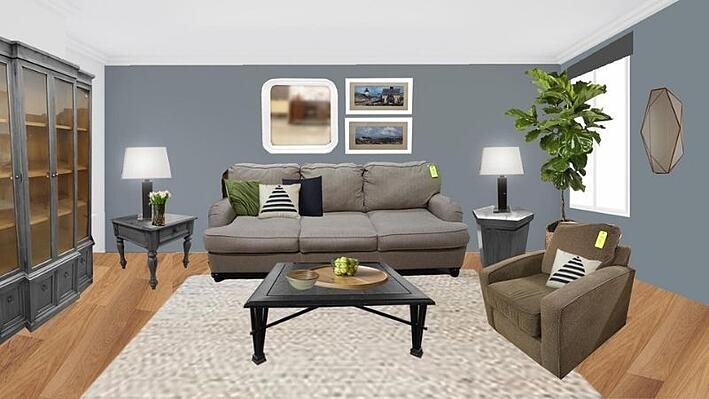 Living room with new gray paint, wood-look laminate flooring, plants, cushions, and furniture painted to match.