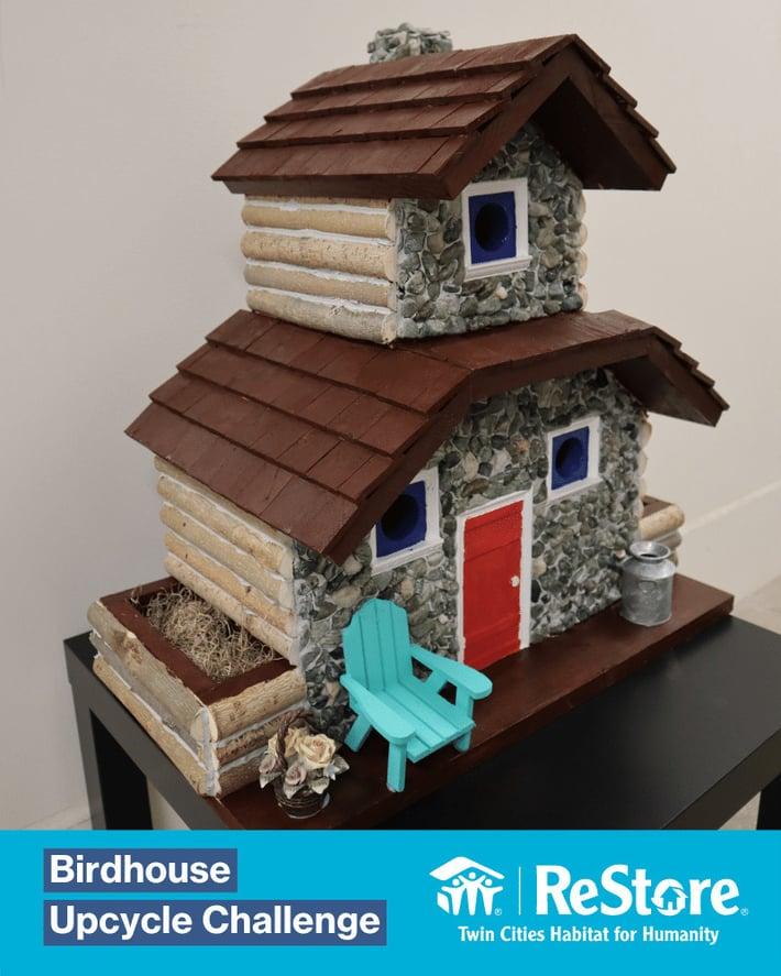 Cottage-style upcycled birdhouse.
