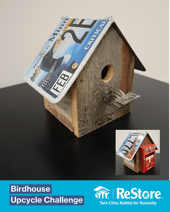 Repurposed license plate and fire alarm as an upcycled birdhouse.