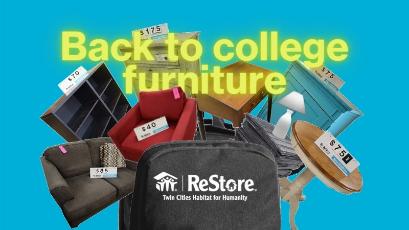"""Text """"back to college furniture"""" with a collage of furniture sticking out of a backpack."""