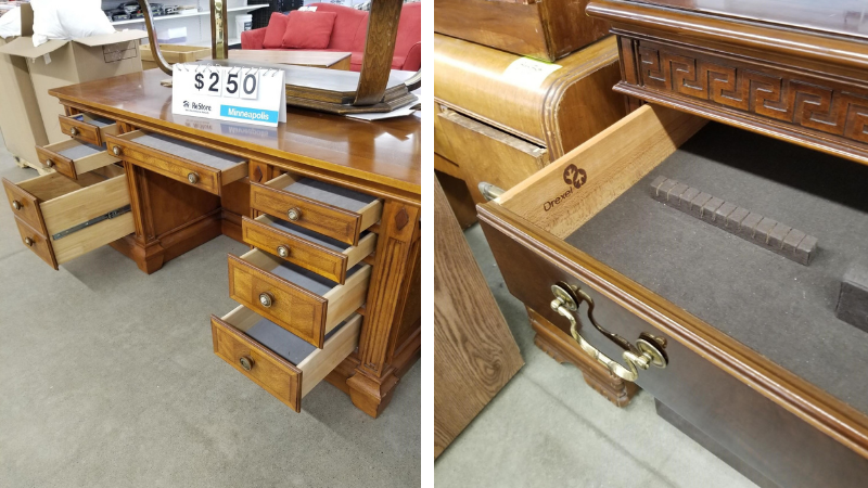 A look at some desks with the drawers open at ReStore Minneapolis