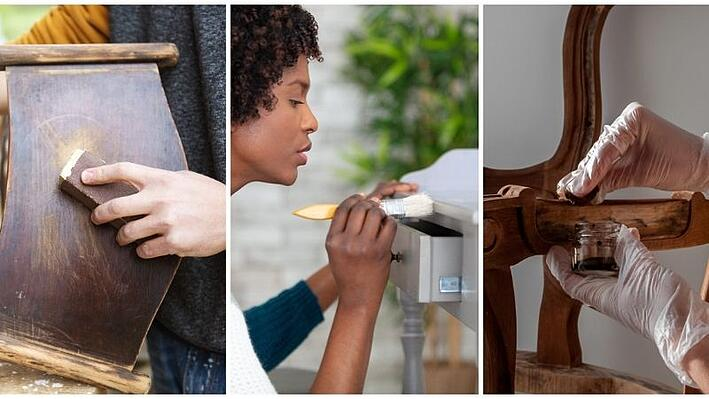 Sanding, staining, and painting wood furniture.