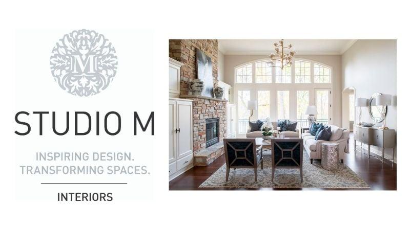 Studio M logo with photo of living room.
