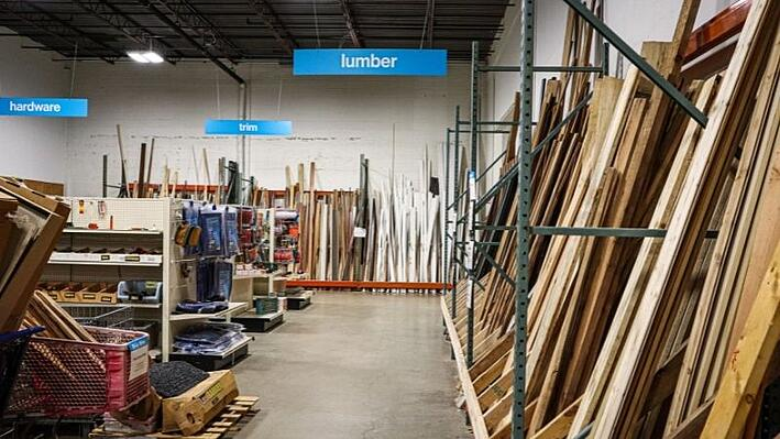 A look at the inside of ReStore home improvement outlet. Including lumber, tools, trim and more.