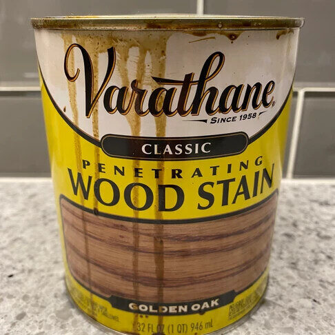 A can of wood stain.