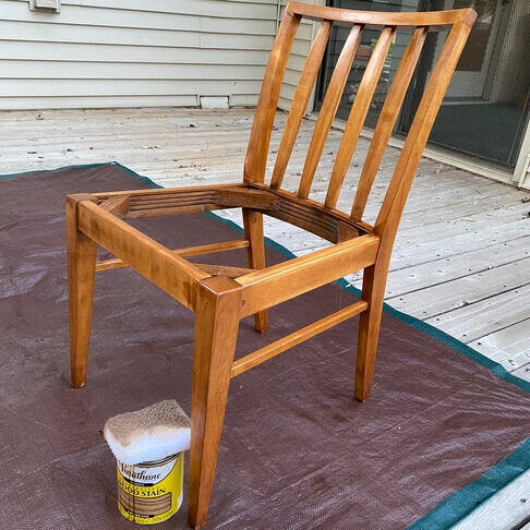 The chair after being stained.