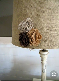 burlap lamp shade with decoration - floral, ideas, creative