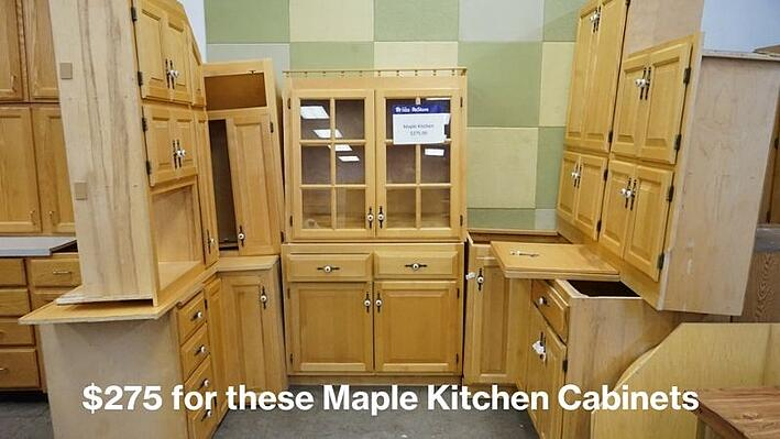 $275 for these maple kitchen cabinets.