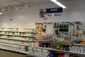 The paint aisle at ReStore.