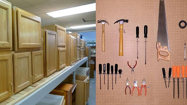 Cabinets, and tools on a pegboard.