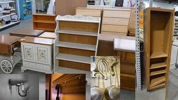 Bookshelves, cupboards, hooks, and other organizational items.