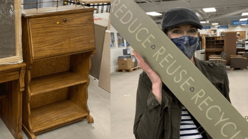 Rae shopping at ReStore and finding the desk for her project.