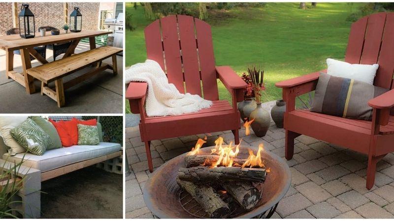 Adirondack chairs, wood table, cinder block bench.