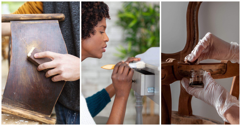 Collage image of DIY furniture refurbishing. Sanding, staining, painting wood furniture.