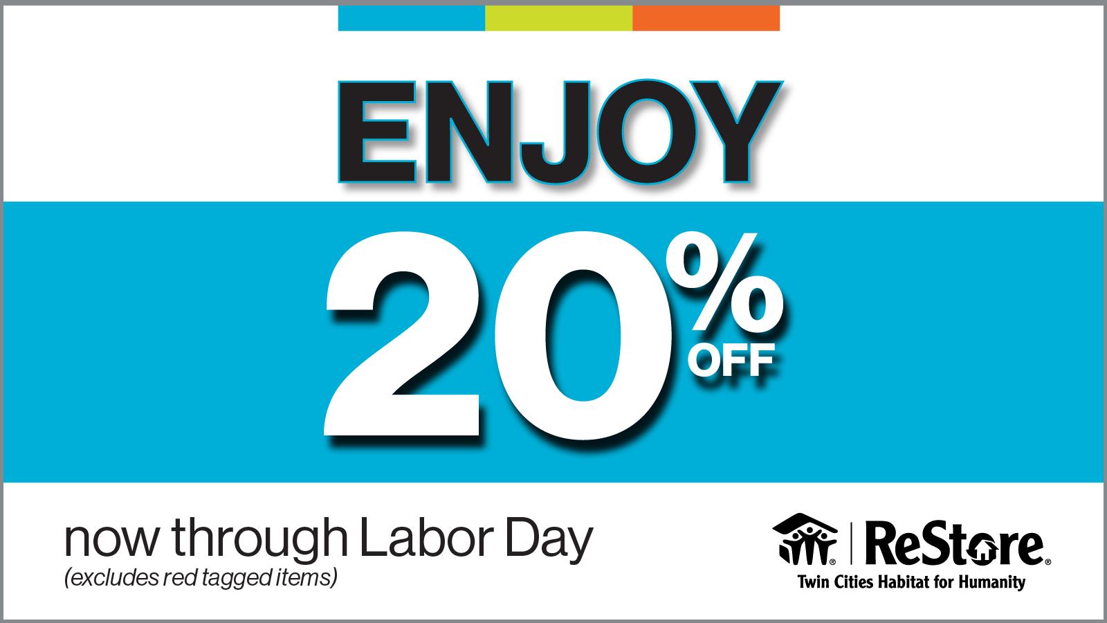 Enjoy 20 percent off everything sale