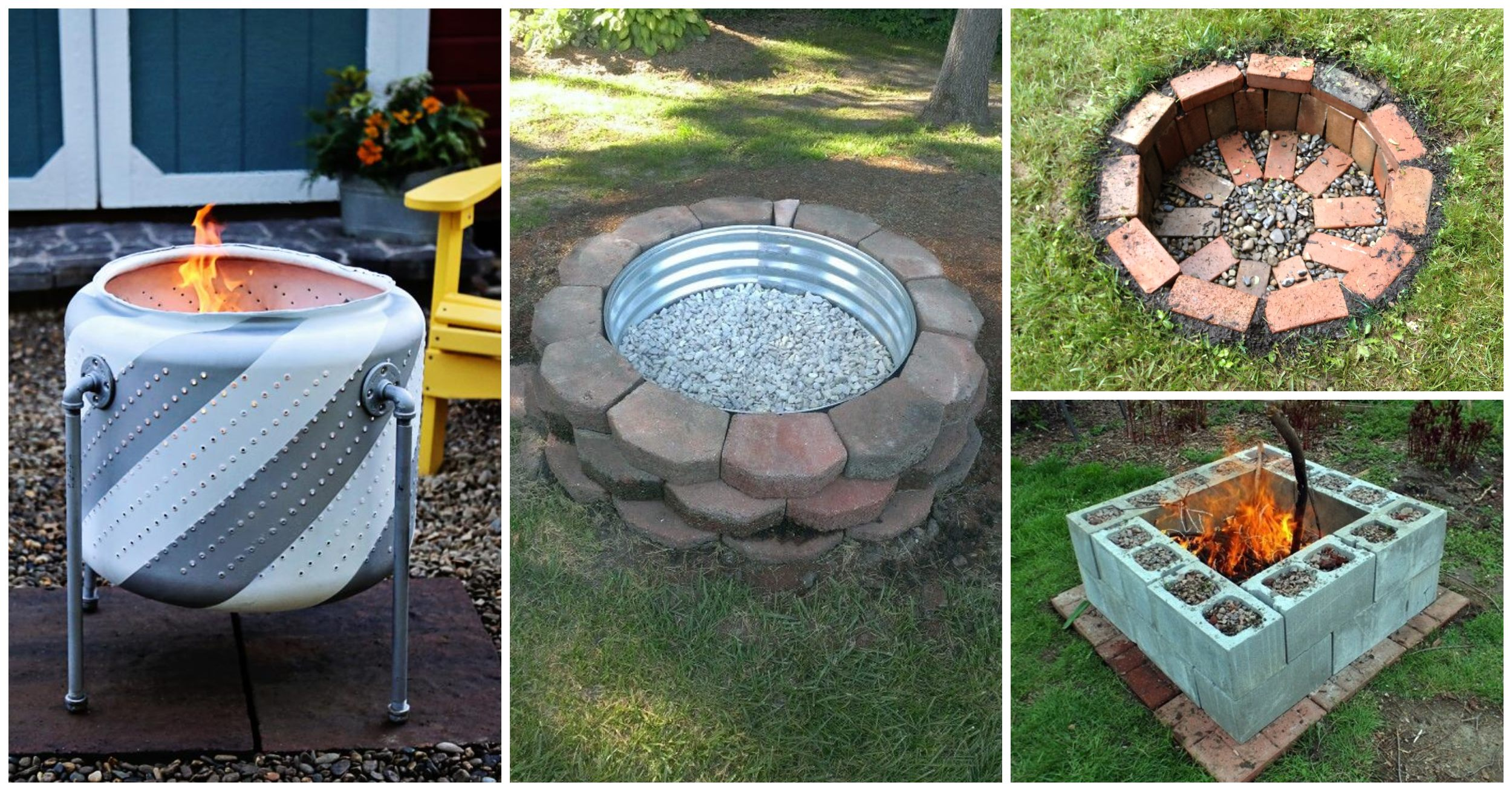 Various fire pit types, including creative designs and simply do-it-yourself projects.
