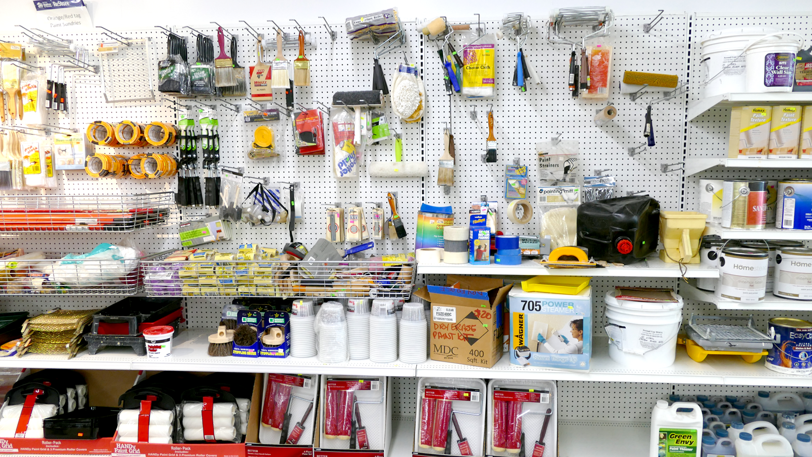 Paint supplies at ReStore home Improvement outlets in New Brighton and Minneapolis Minnesota