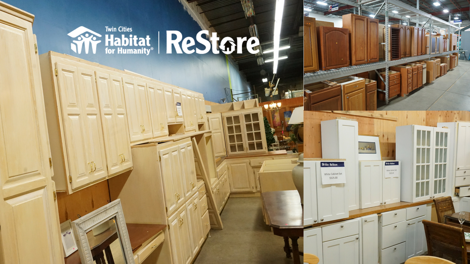 Kicthen Cabinets and Bathroom Cabinets available at the Twim Cities Habitat for Humanity ReStore