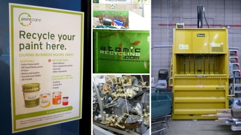 Collage of recycling options.