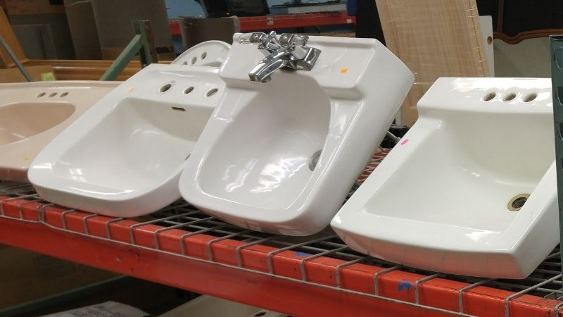 Bathroom sinks.