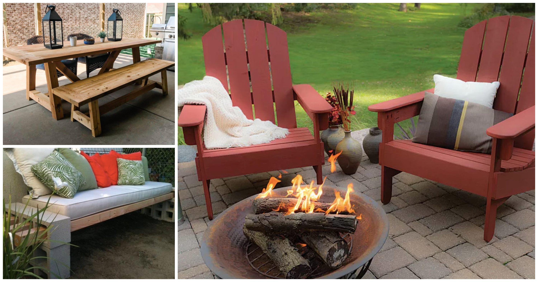 DIY patio furniture ideas - adirondack chairs, wood table, cinder block bench